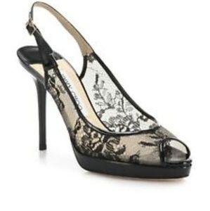 Jimmy choo nova lace peep toe heels